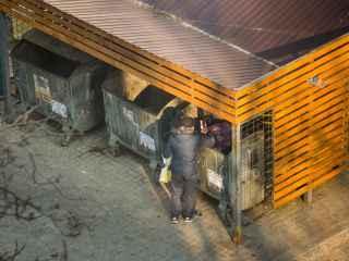 Lupta pentru supraviețuire din fața tomberoanelor cu gunoi (VIDEO)