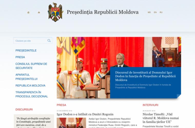 Limba oficială a site-ului președinției a fost schimbată