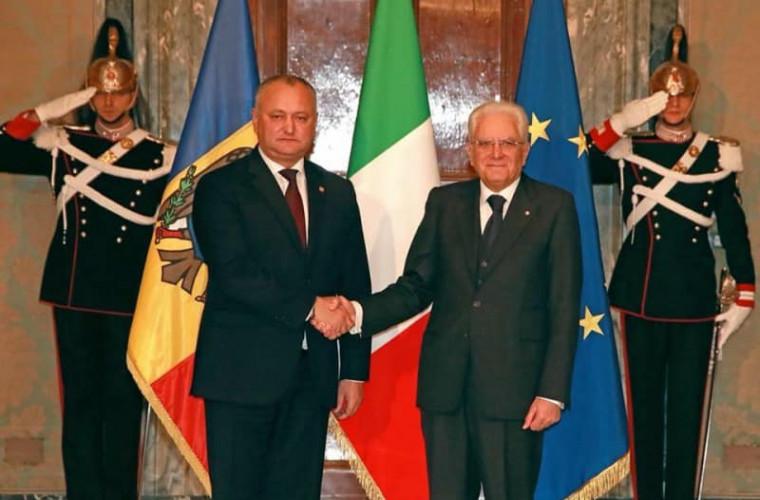 Igor Dodon a transmis un mesaj de felicitare președintelui Italie