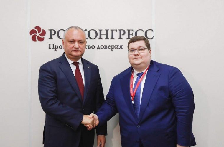 Dodon: Moldova este interesată de creșterea investițiilor rusești