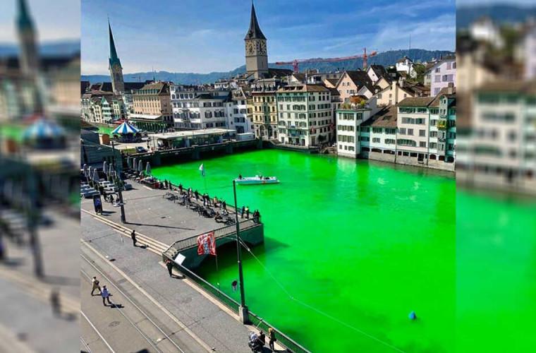 В Швейцарии река стала ярко-зеленой