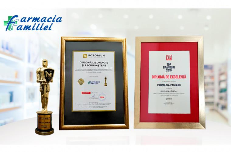 Farmacia Familiei a primit Diploma de Excelență TOP BRANDURI 2019 și trofeul NOTORIUM AWARDS 2019