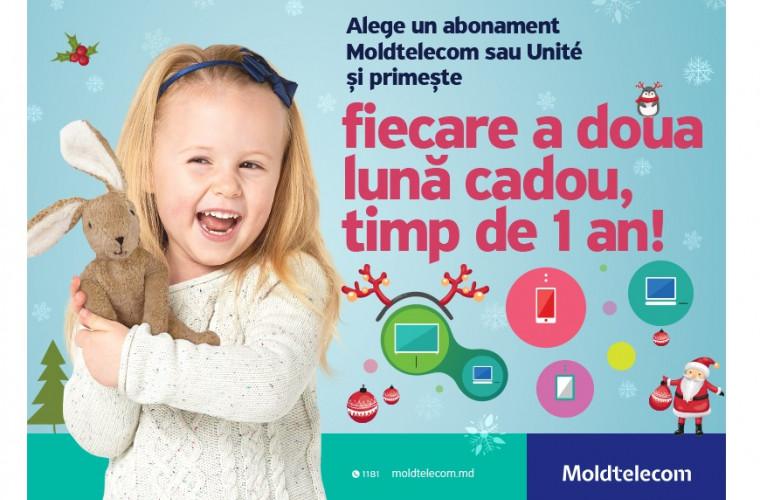 Alege un abonament Moldtelecom sau Unite și primește fiecare a doua lună cadou, timp de 1 an
