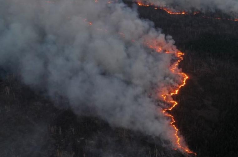 Imagini cu incendiul devastator de lîngă Cernobîl surprinse cu drona