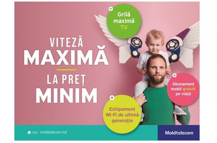 La Moldtelecom ai viteză maximă la Internet și toată grila de canale TV, la preț minim, plus un abonament de telefonie mobilă gratuit pe viață